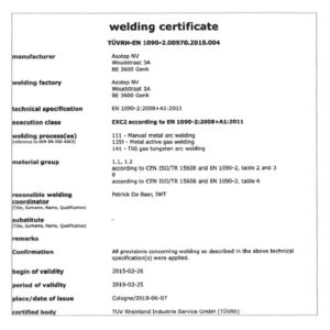 Asotep - Welding certificate Lascertificaat EN 1090